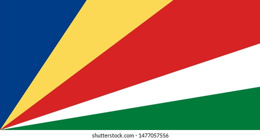 Seychelles national flag. The flag of The Seychelles. Vector illustration