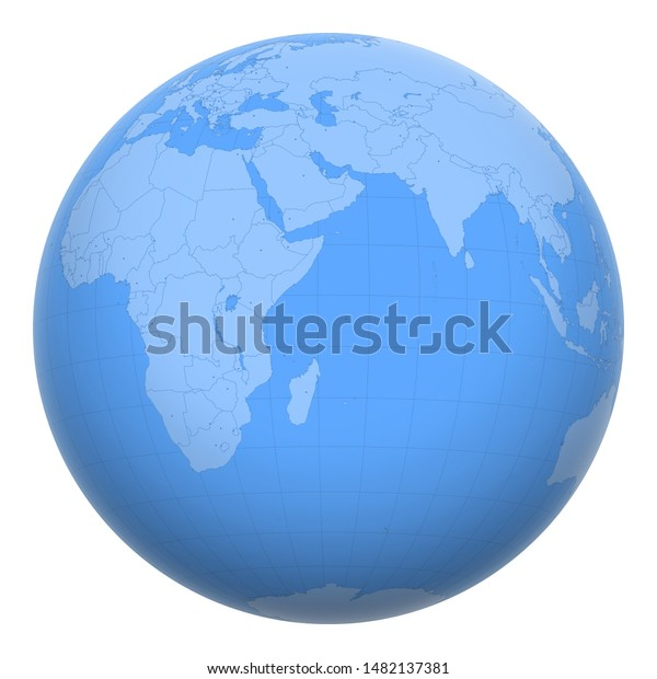 Seychelles On Globe Earth Centered Location Stock Vector