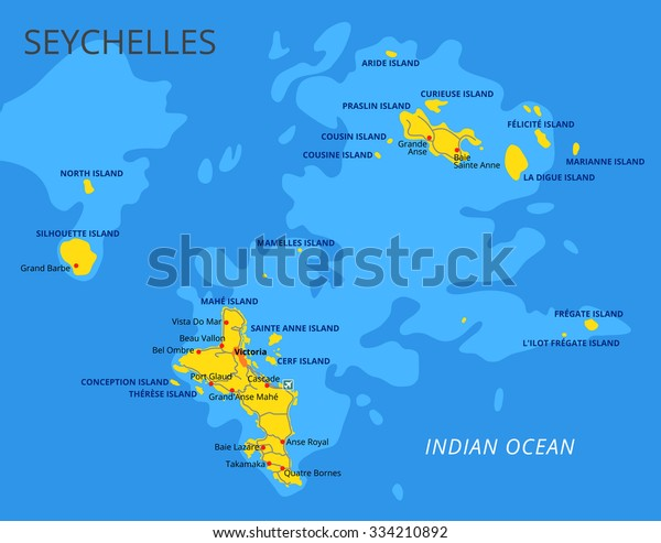 Seychelles Political Map Capital Victoria Important Stock