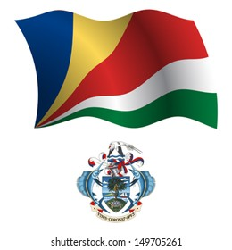seychelles wavy flag and coat of arm against white background, vector art illustration, image contains transparency