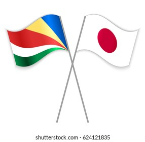 Seychellois and Japanese crossed flags. Seychelles combined with Japan isolated on white. Language learning, international business or travel concept.