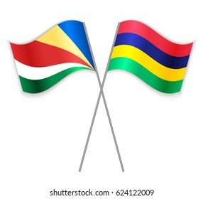 Seychellois and Mauritian crossed flags. Seychelles combined with Mauritius isolated on white. Language learning, international business or travel concept.