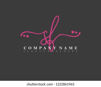 SF Initial handwriting logo vector