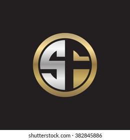 SF initial letters circle elegant logo golden silver black background