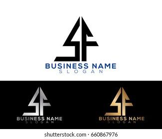 sf initial letters linked triangle shape logo