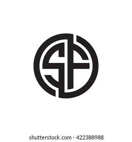 SF initial letters looping linked circle monogram logo