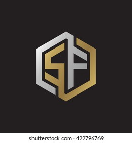 SF initial letters looping linked hexagon elegant logo golden silver black background