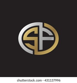 SF initial letters looping linked ellipse elegant logo golden silver black background