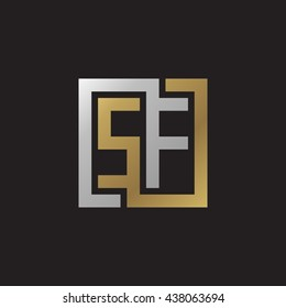 SF initial letters looping linked square elegant logo golden silver black background