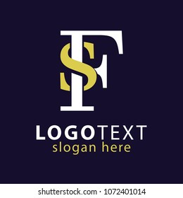 SF Initial Logo Vector, with gold and silver color