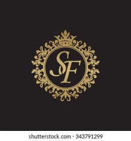 SF initial luxury ornament monogram logo