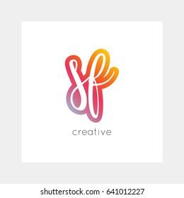 SF logo, vector. Useful as branding, app icon, alphabet combination, clip-art.