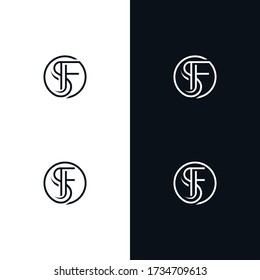 SF monogram.Typographic logo with outline letter S and letter F, eps 10