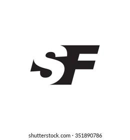 SF negative space letter logo