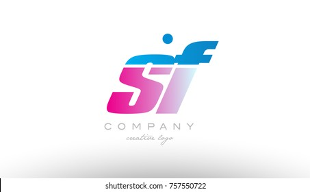 sf s f alphabet letter combination in pink and blue color. Can be used as a logo for a company or business with initials
