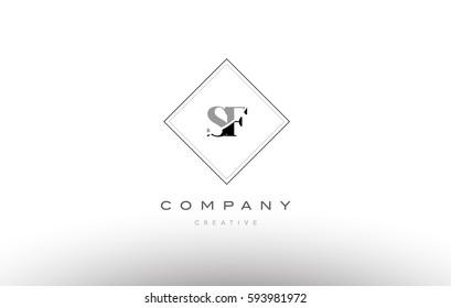sf s f  retro vintage black white alphabet company letter logo line design vector icon template