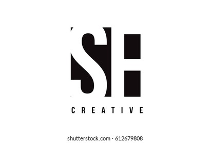 SF S F White Letter Logo Design with Black Square Vector Illustration Template.