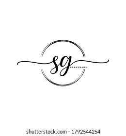 SG Initial handwriting logo vector