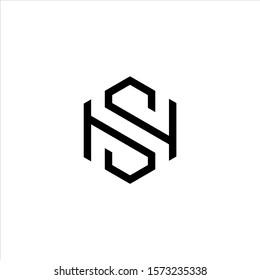 SH or HS letter logo design hexagon shape.