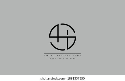 SH, HS, S, H abstract vector logo monogram template