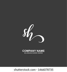 SH Initial handwriting logo vector