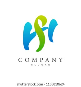 SH logo, HS logo, initial name business logo template
