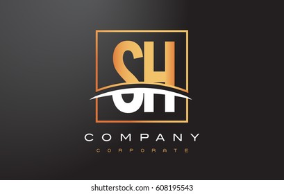 SH S H Golden Letter Logo Design with Swoosh and Rectangle Square Box Vector Design.