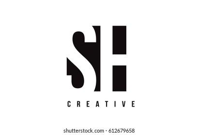 SH S H White Letter Logo Design with Black Square Vector Illustration Template.