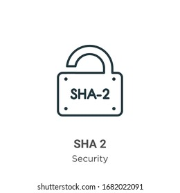 Sha 2 outline vector icon. Thin line black sha 2 icon, flat vector simple element illustration from editable security concept isolated stroke on white background