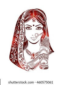 Shaadi. Indian woman in a wedding dress and bridal jewelry in the background of patterns of paisley.