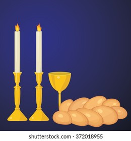 Shabbat candles, kiddush cup and challah.