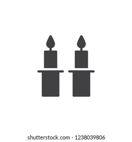 Shabbat candles vector icon. filled flat sign for mobile concept and web design. Jewish Candles simple solid icon. Symbol, logo illustration. Pixel perfect vector graphics