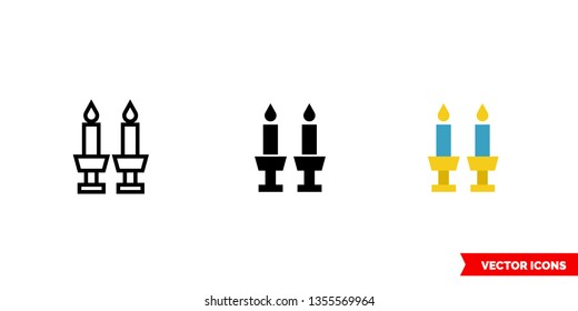Shabbat icon of 3 types: color, black and white, outline. Isolated vector sign symbol.