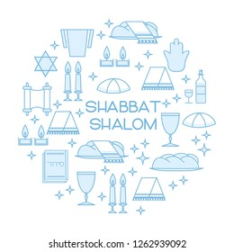 """Shabbat Shalom card with Star of David, candles, kiddush cup and challah. Line art style. Hebrew text """"Shabbat Shalom"""". Vector illustration. Isolated on white."""