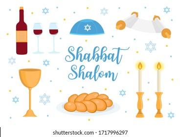 Shabbat Shalom greeting card, jewish symbols set. Judaism concept. Isolated on white background