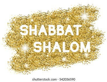 Shabbat shalom. White letters on golden background. Vector illustration.