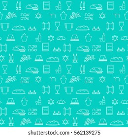 "Shabbat symbols seamless pattern. Thin line background. Hebrew text ""Shabat Shalom"". Vector illustration"