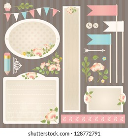Shabby chic design elements collection. Vector set