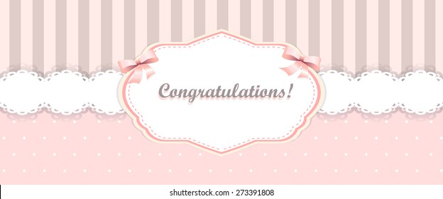 shabby chic. girly congratulations card. swatch