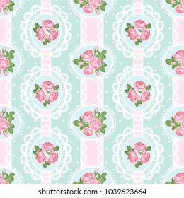 Shabby chic rose seamless pattern on polka dot with ribbons and laces background. Vector illustration.