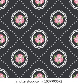 Shabby chic rose seamless pattern background. Vector illustartion.