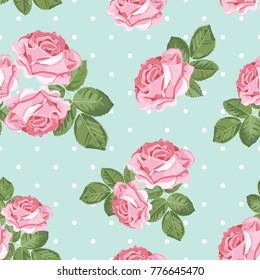 Shabby chic rose seamless pattern on polka dot background. Vector illustartion.