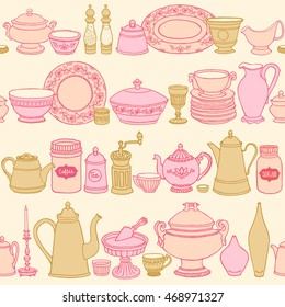Shabby chic style kitchen vector seamless pattern with cooking items. Hand drawn food and drink background. Vector illustration of side view sketchy dishware.
