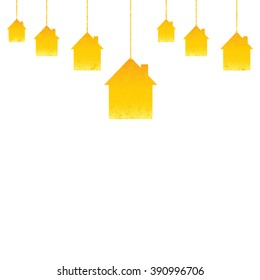 Shabby golden colored hanging houses isolated on white background. Greeting card / housewarming template