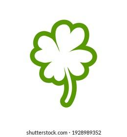 Shabby hand drawn shamrock  icon isolated on white. Irish clover leaf. St Patrick  day vector illustration.