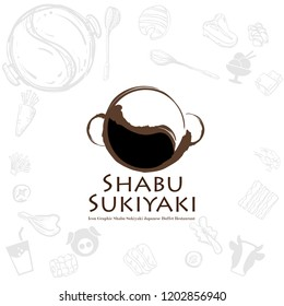 shabu sukiyaki logo icon graphic japanese buffet restaurant