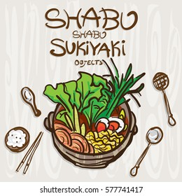 shabu sukiyaki objects drawing graphic  design