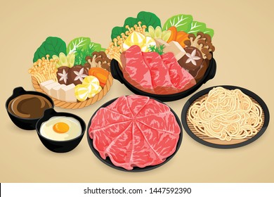 Shabu shabu with vegetables, wagyu beef, kurobuta pork, egg, soup, and udon noodles illustration on background vector.