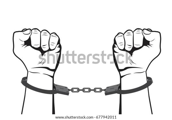 Shackled Hands Handcuffs Man Jail Prisoner Stock Vector Royalty