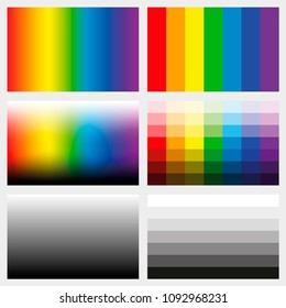 Shade tabs. Set of color gradients, grayscales and saturation spectrums in different gradations from light to dark - work tool for graphic design artists - vector illustration.